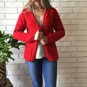 Carol Rose | Open Front Red Cardigan Pockets
